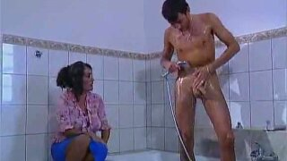 Thick German Brunette Gets Railed In The Bathroom