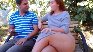 Redhead and neighbor outdoor(pussy licking)
