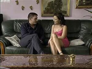 Hot Seduction Of Petite Brunette On A Black Couch Porn