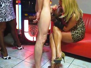 Femdom Milf's Jerking Off Slave Porn