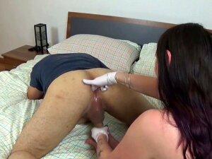 Wonderful Leather Mistress Milks Slave's Prostate (white Nitrile Gloves) Porn