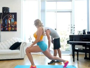 Sexy Blonde Yoga Babe With Giant Boobs And Fat Ass Gets Fucked And Gets Cumshot Porn