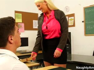 Alura Jenson & Bruce Venture In My First Sex Teacher, Professor Alura Jenson's Class Is Over, But Her Student Bruce Isn't Leaving Any Time Soon. The Blonde, Busty College Teacher Tells Him That She's Got To Lock Up The Classroom Because She's Teaching A Course At Another Building Soon, So She Pushes Him To Get Up And Go. Bruce Finally Admits That He Can't Stand Up Because He's Got A Massive Erection! The Teacher Sympathizes With Him, But She Blushes When She Finds Out That She's The One Causing His Big Boner ... And It Even Turns Her On. Professor Jenson Locks The Door And Pulls Out Bruce's Big Dick And Shoves It Down Her Throat, Then Takes A Pussy Creampie! Lesson Learned! Porn