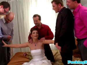 Jessica's Been Married For 30mins And Already The Festivities Will Grind To A Halt Until She Freshened Up Her Make-up After This. Five Loads Of Cum For The Bride In This Improvised Bukkake Session! Porn