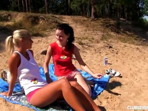Two Young Girls On A Public Beach In The Sun. Sara And Ester Decide To Get Into The Water To Cool Down. But All It Does Is Make Them Hot When They See Each Other's Nipples Appearing Through Their Wet T-shirts. They Soon Start Making Out And Nibbling Each Porn
