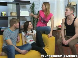 Two Guys Fucking Eager Teens, These Two Cute Bisexual Teen Chicks Don't Even Need To Decide Who Gets Whom When They Join A Couple Of Handsome Guys For A Foursome Home Party. They Just Switch Partners From Time To Time And End Up Getting Fucked By Both Guys And Sharing Their Cumshots Like Best Friends Do. They Look So Happy And Satisfied With Hot Sperm Dripping Down Their Tits. Wow! Porn