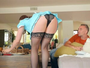 Maid Chanel Preston Wearing Stockings Flashes Her Panties Porn
