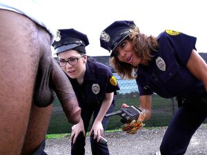 Cock Hungry Cops Lyla Lali And Norah Gold Sucking Giant Black Pole Porn