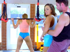 Two Attractive Sportswomen Perform Threesome In The Gym Porn