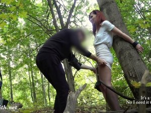 Tied Blonde Has Been Turtured By Crazy Man Till Evening In Forest