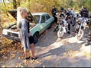 Bikers Banged Blonde MILF In Forest Porn