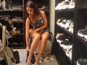 Footjob In The Store H&M With Naked Pussy Porn