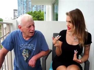 Skinny Blonde Smoking Backstage With An Old Grandpa Porn