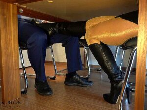 Secretary In Shiny Pantyhose N Leather Boots Gives Boss Secret Footjob - He Cums In Business Pants Porn