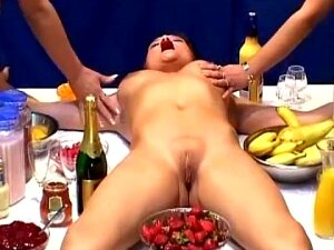 Romantic Lesbian Date Transforms Into Naughty Banging With Bananas Porn