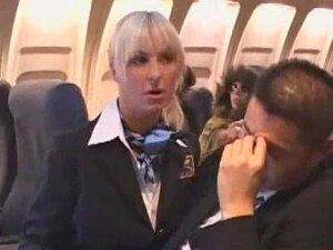 Sexy Stewardess Gives Handjob Porn