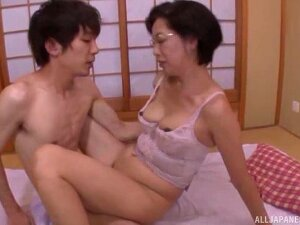Busty Japanese MILF With Glasses Pounded Doggy And Missionary Porn