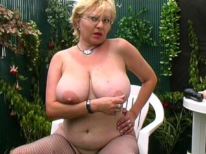 Busty Blonde Granny Loves To Suck The Dick In Her Own Backyard Porn