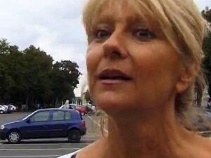 Sexy Blonde MILF Picked Up From The Street And Gets Fucked Hard In Her Aged Mature Pussy By A Hard Young Huge Penis. Porn