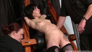 """""""Enslaved painslut Elise Graves whipping in hard bdsm punishment session of tit torments and extreme bondage in the dungeon"""""""