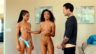 Demi Sutra and Kira Noir have fun with strap-on and cock