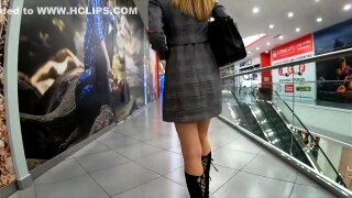 She shows her pussy during shoping and he controls her orgasm using Lovense