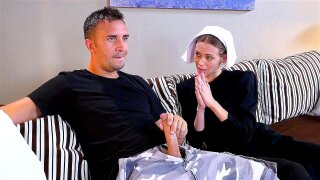 Innocent-looking nun Alexa Nova deepthroats the shaft like a pro