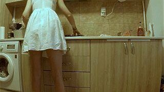 """(HIDDEN CAM) Sneaking On My Hot Teen StepSister in the Kitchen"""