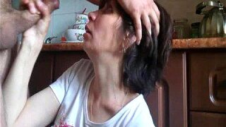 """""""Mature mom gets full load of sperm on her face - rough deepthroat POV"""""""