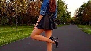 High heels in park