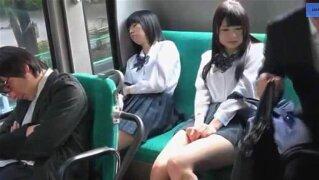 """Japanese Schoolgirls bus teasing Passangers to touch and masturbate under skirt.avi"""