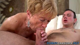Spunky mouthed granny with big tits sucking hard dick in hd