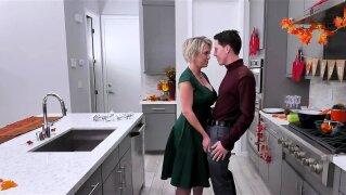 Boy licks pornstar's cunt and begins expanding it with rigid cock