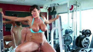 Cute tanned Lisa Ann is getting fucked in mouth