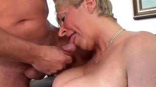 Busty german granny with big tits and ass eats dick